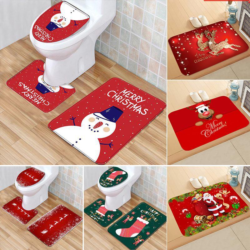 Santa Claus Toilet Cover Bathroom Set Christmas Decoration For Home Merry Christmas Navidad 2020 Happy New Year 2021