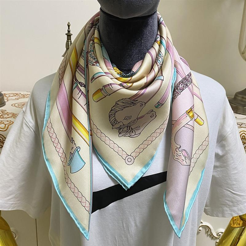 New style women's square scarves good quality 100% twill silk material multi color pint pattern size 90cm - 90cm