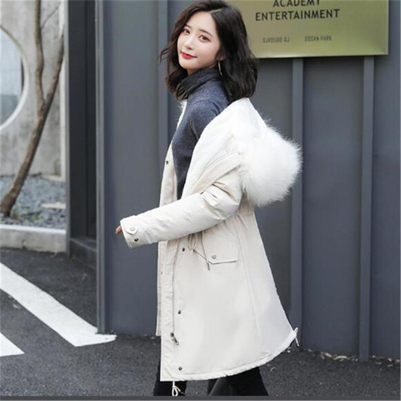 Women's Down & Parkas 2021 Winter Korean Mid-Length Thick Loose Cotton Coat Hooded Jacket
