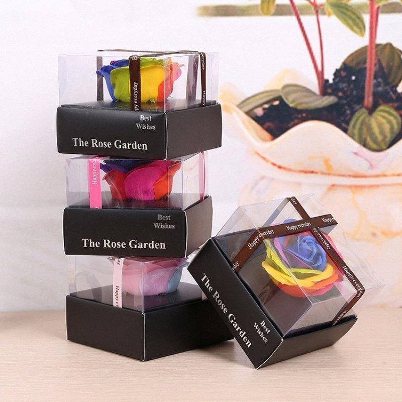 Colorful Eternal Flower Soap Rose Gift Box Birthday Valentine Gift Single Champagne Heart Box2 XJX5#