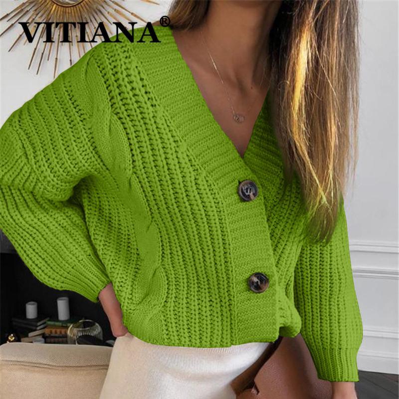 Vitiana Knit suéter mujeres otoño 2019 femenino casual manga larga botón cardigan suéteres de punto abrigo femme invierno ropa abrigada y200722