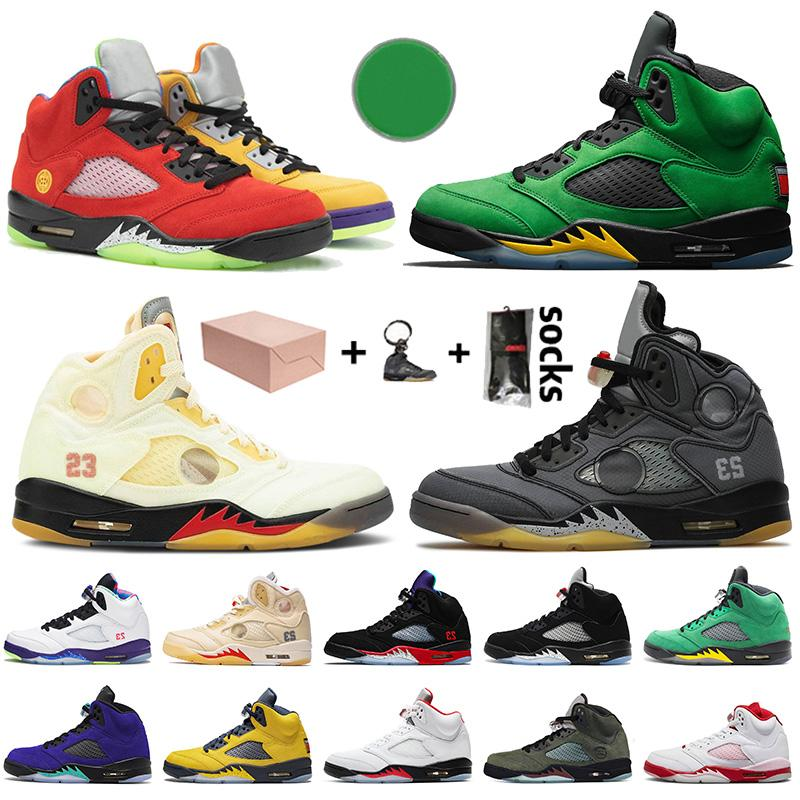 With Box New Jumpman 5 What the Mens Basketball Shoes Retro Oregon Ducks Off Fire Red 5 Alternate Grape 5s Muslin Trainers Sneakers