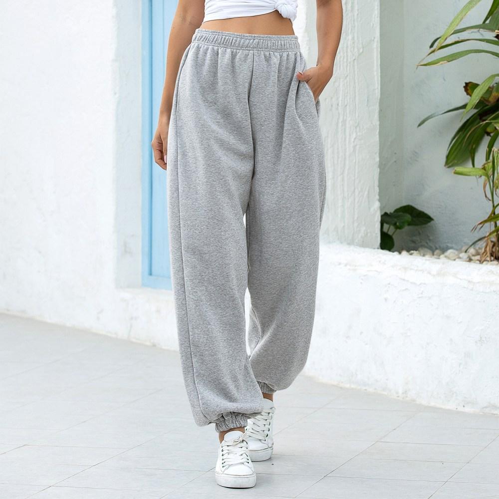 Puimentiua Women Sweatpants Baggy Sports Gray Pants Casual Joggers Wide Leg Oversized Streetwear High Waisted Trousers Women