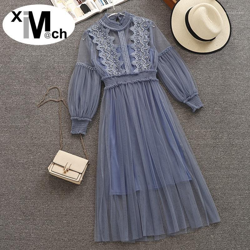 Ximm @ CH New Sweet сетчатые платья стойки с длинным рукавом кружева пэчворк бисером сетчатые сетки платье с юбкой DR01024F51