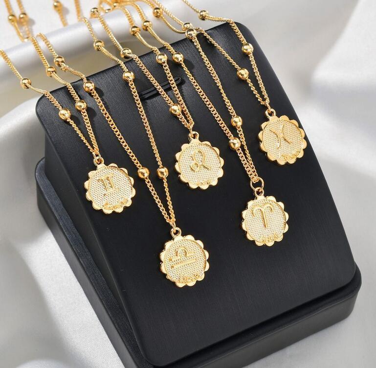 NUEVA llegada de la constelación 12 Collar de oro clásico 18k, signo del zodiaco pendiente del grano redondo de la cadena collar de la joyería libre de la nave