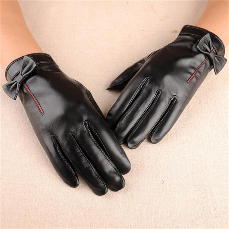 Luxury-бренд натуральная кожа Женские перчатки высокого качества Зимнее вождения перчатки Элегантный Bowknot Black Lady овчины перчатки