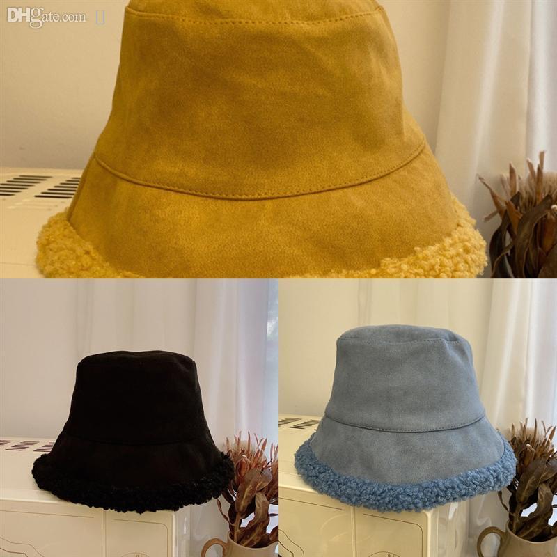 EQQKF Panama Bucket Secchio Secchio Cappello Colorato Agnello Peluche Harajuku Double-Sided Tenere il cappello caldo Autunno e Winter Dye Pescatore Cappello in cotone