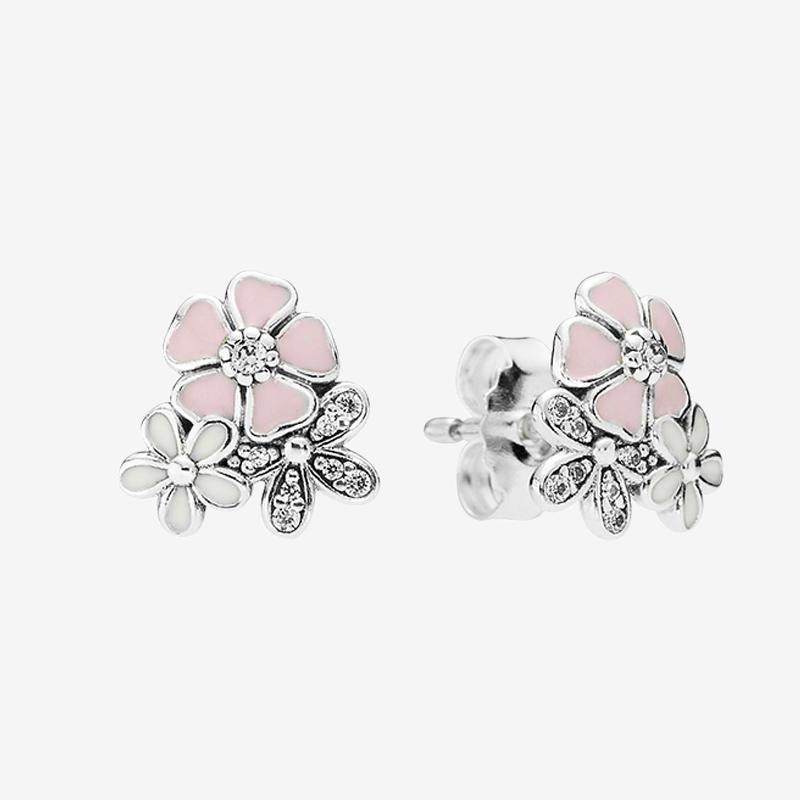 Fleurs roses Stud Boucles d'oreilles belles femmes filles bijoux cadeau avec boîte pour 925 diamants jeu en argent sterling CZ Boucles d'oreilles