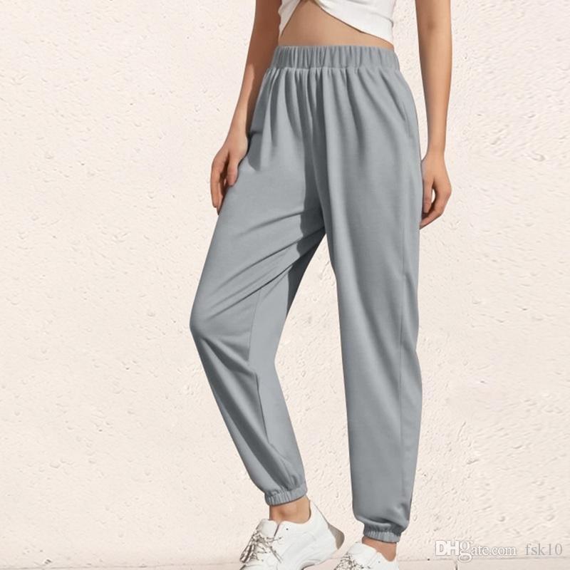Сплошной цвет Joggers высокой талией Длинные мешковатые штаны Женщины Повседневная Sweatpants Jogger танец шаровары 2020 Hip Hop Streetwear