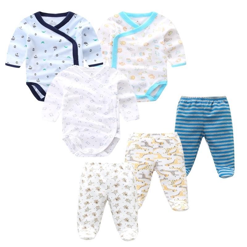 6 pcs / lot garçons filles vêtements nouveau-né enfant bébé printemps automne coton bodysuits + pantalon de vêtements de bébé 201130