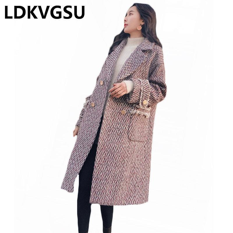 Abrigo de lana Femenino Houndstooth Long Section Coreano 2020 Otoño Invierno Nuevo Espesado Tassel Wool Abrigo suelto Talla grande R359