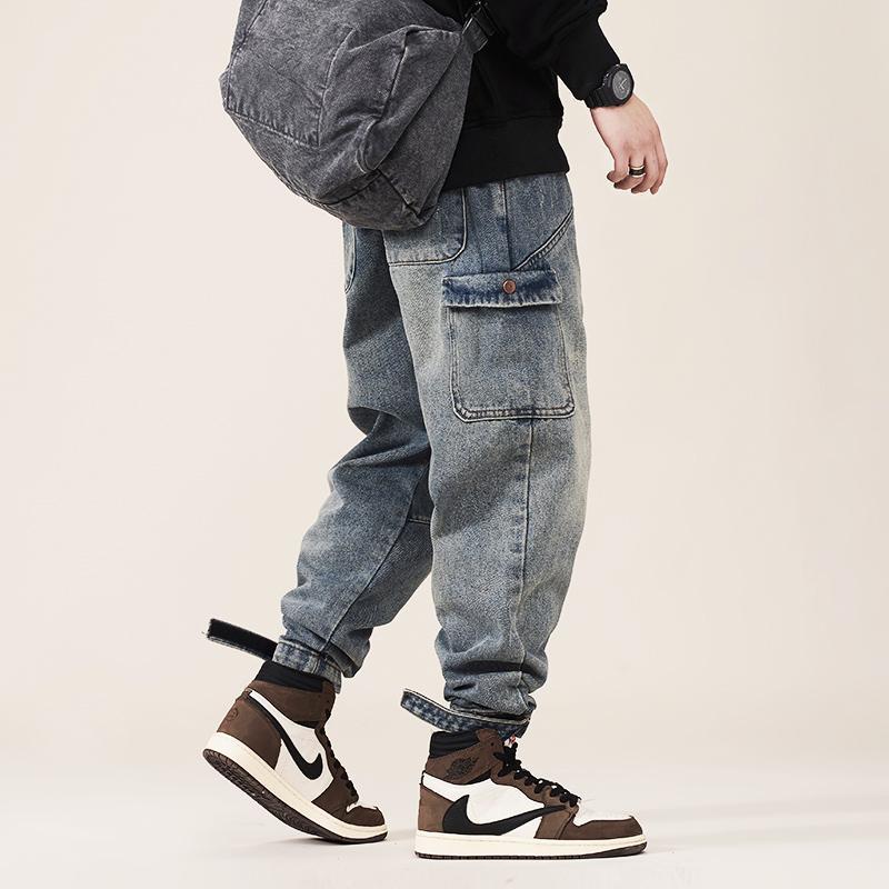 Fashion Streetwear Uomini Jeans Adatto allentato Big Pocket Pantaloni da carico Casual Hombre di alta qualità stile giapponese hip hop pantaloni pantaloni