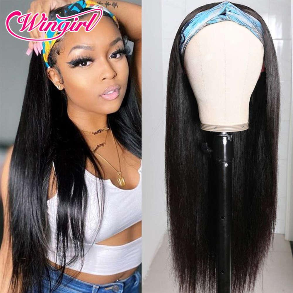 Wingirl Headband WIG 30 pulgadas Brasilianas rectas sin glanas de pelucas humanas para mujeres negras