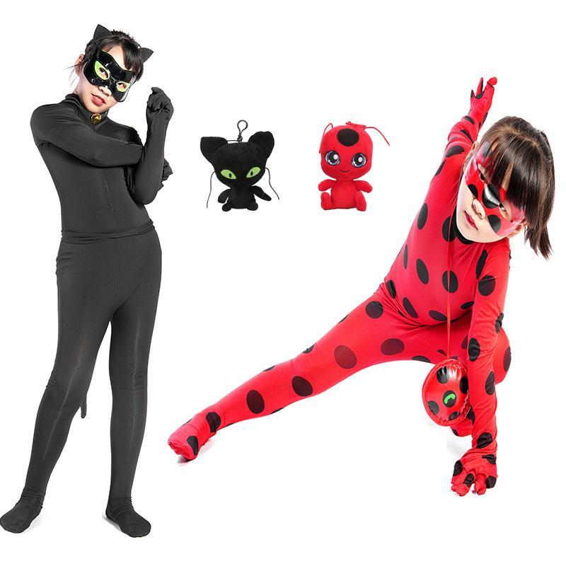 Halloween Spandex Coccinelle Costume pour enfants Adolescent Petites filles Elastic anniversaire de Noël Cosplay Lady Bug Zentai Vêtements Outfit Set X0923