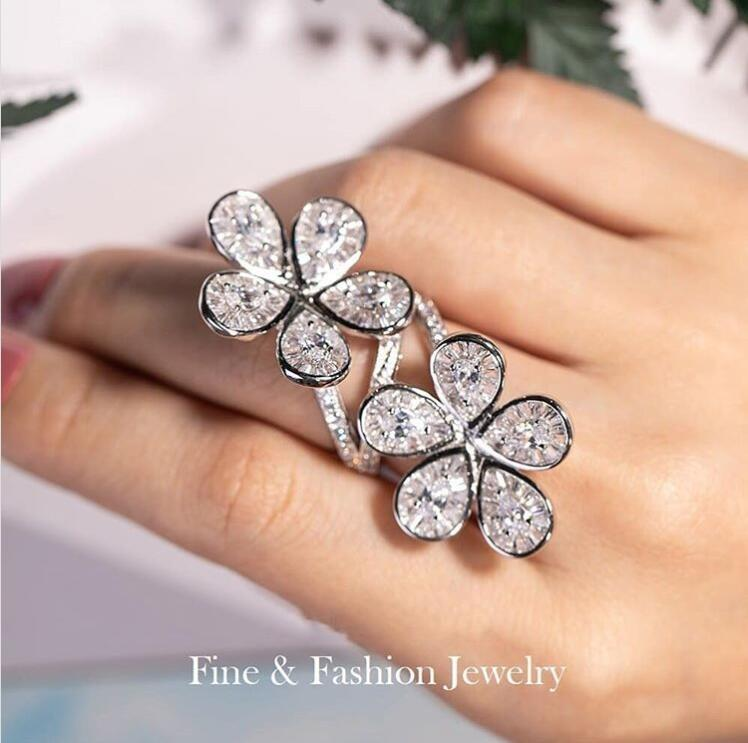 Einzigartiger Cocktail Vintage-Schmuck Fein 925 Sterling Silber Weiß Topaz CZ-Diamant-Edelstein-Partei-Frauen-Hochzeits-Verpflichtungs-Blumen-Ring-Geschenk