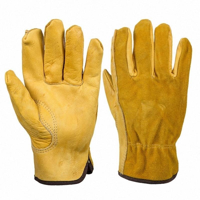 Véritables gants de travail en cuir conducteur anti-dérapant Gants de jardin pour réparation mécanique du véhicule 25 K2q9 #