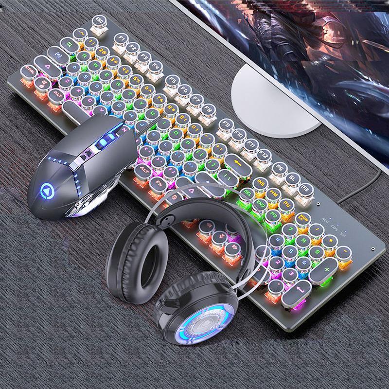 Keyboards Mechanische Tastatur Schwarzachse Blue Switch Retro Punk Gaming Maus Kopfhörer Drei Stück Set Kabel Für Desktop LOPTAP