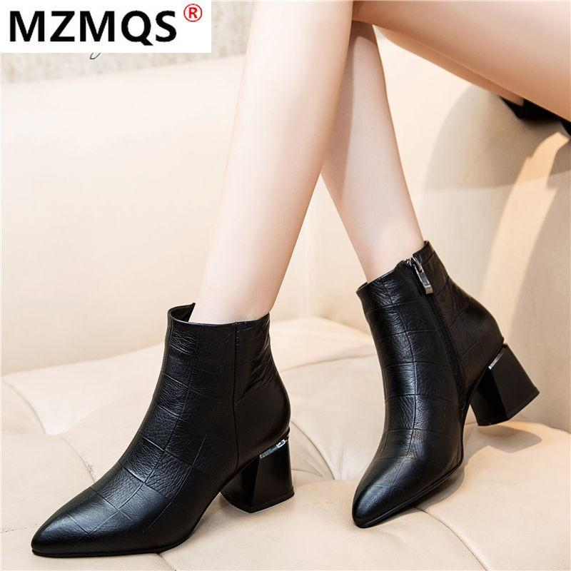 2020 New Winter Women's Boots Fashion Zipper Square-Heel PU Boots Pointed Toe Mid-heel Warm Women's Ankle Zapatos De Mujer