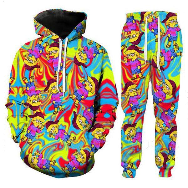 Hippie Hippie-T-Shirt Männer Frauen 3D-Druck Bunt Lisa Simpson Sweatshirt Hip Hop Hoodie Lässige Shorts Lustige Jogging-Hosen-Klage