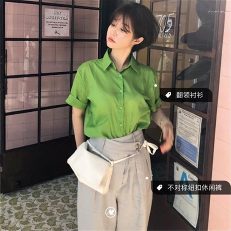 2020 Neue Ankünfte Frauen Sommer Bluse Hemd Korean Chic Frensh Grün Elegante Blusas Trun-Down Collar Kurzarm Tunika Verano1