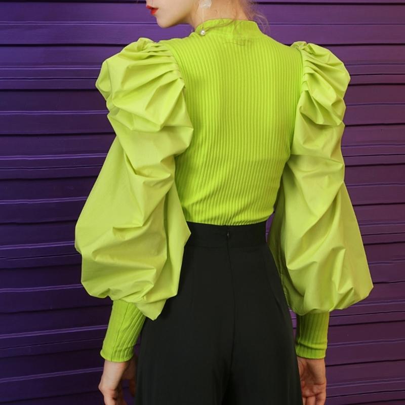 Twotwinstyle patchwork branco de malha ruched mulheres camisola o pescoço manga pufter pulôver feminino streetwear outono moda novo 201203