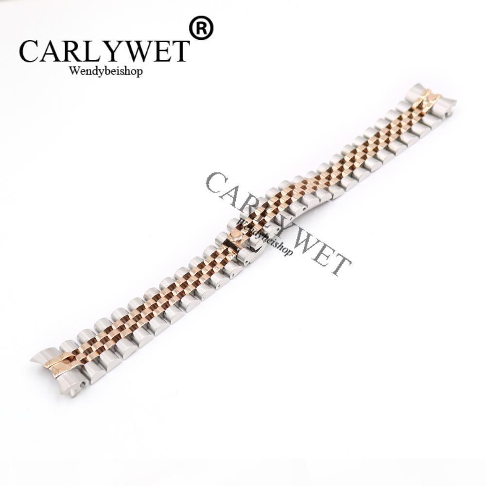 Carlywet 20mm 316L Jubilée en acier inoxydable Silver Deux tons Rose Gold Bracelet Montre Bracelet Bracelet Solide Vis Liens Fin courbée