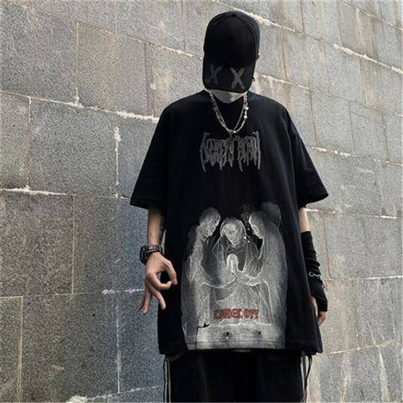 Hip Hop Punk camiseta urbana ocasional de los hombres camisetas Diablo media manga del verano Negro T camisa de la manera tops frescos Japón Camiseta masculina C1021