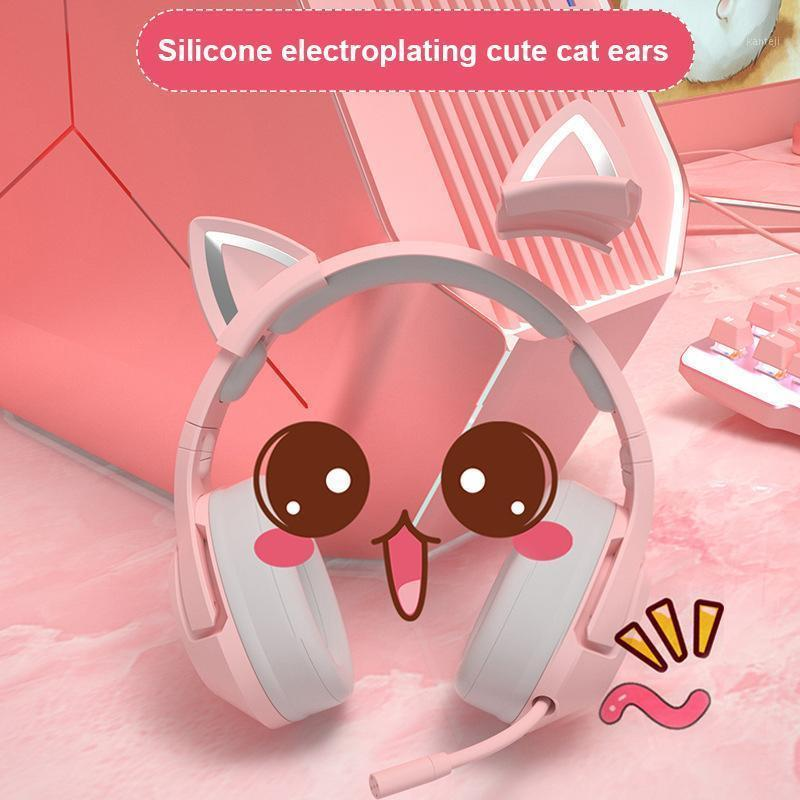 Cat ear headphone K9 Pink Wired Game Cat Ear Headset With Microphone Gaming Music Headset Gaming Pink headphone1