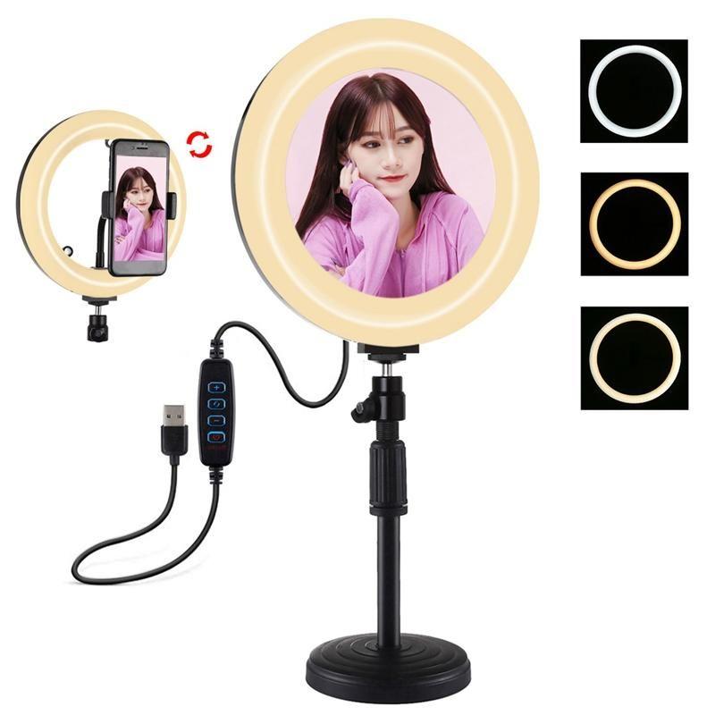 para el anillo de luz PULUZ PKT3079B Montaje de trípode + 7.9Inch 20cm USB para kits Vlogging ligeras video emisión en directo