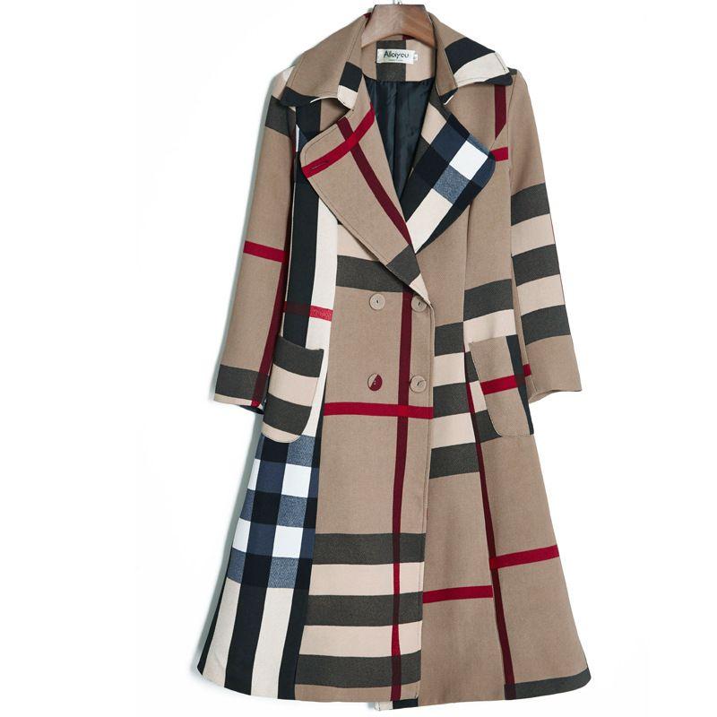 Automne et hiver Nouveau revers Couleur Simple Couleur Simple Couleur Plaid Tempérament Coat Coat Couche coupe-vent pour femmes