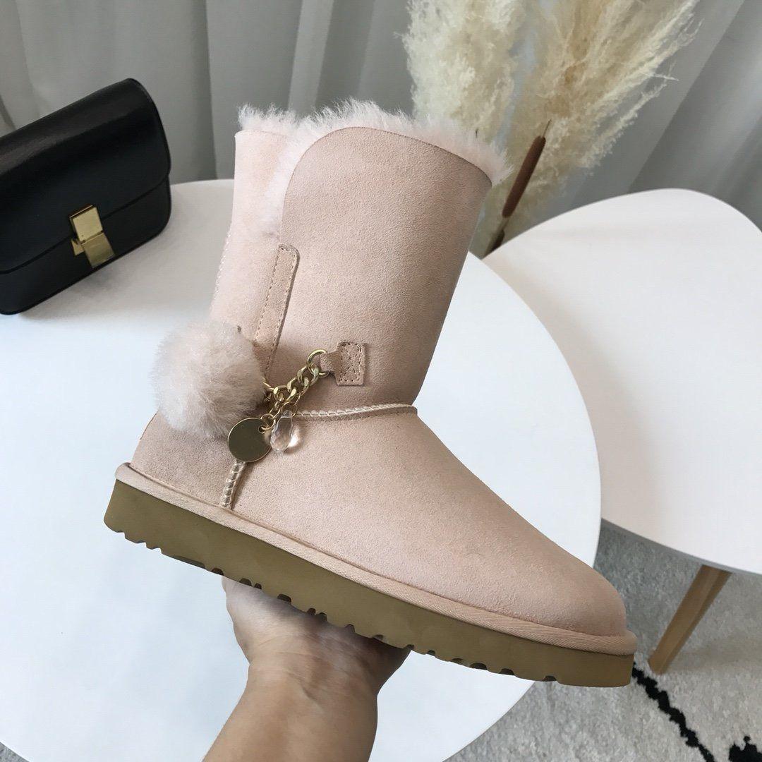 Martin stivali delle nuove donne stilista Palla di pelo soffice sospensione nero castagna grigio blu stivali invernali WGG neve delle donne di colore rosa p4
