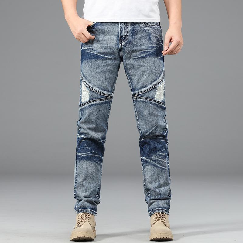 Джинсы мужские прямые брюки мужские высококачественные мягкие тонкие пригонки разорванные джинсовые дизайнерские повседневные байкерские брюки Pantalon Hombre Homme