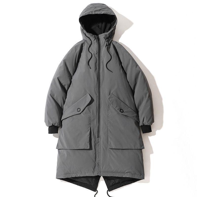 Мужская белая утка с капюшоном теплым для осени зима 2020 новая свободная куртка молнии пальто верхняя одежда