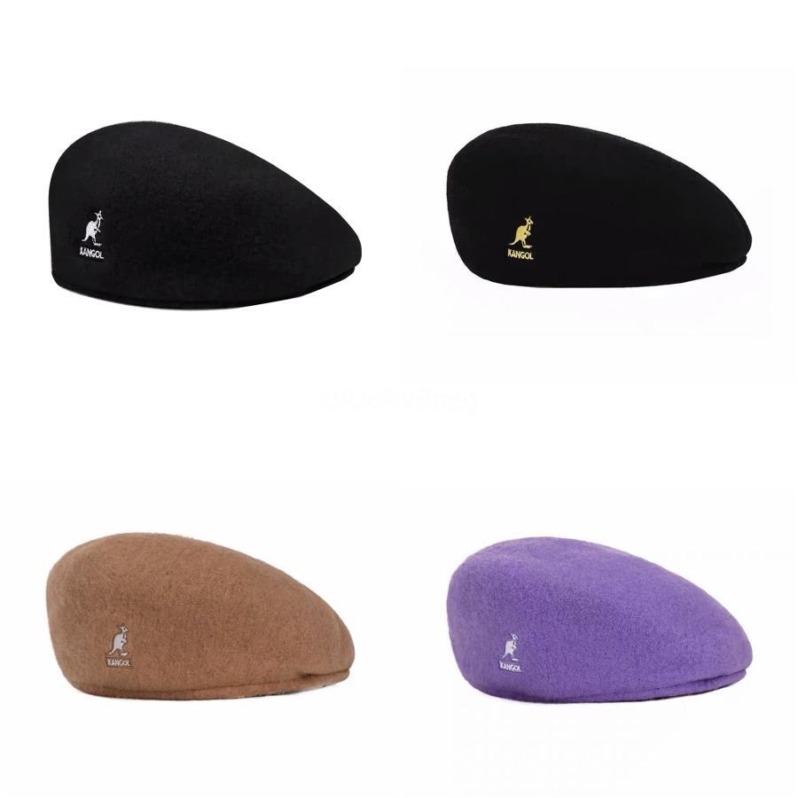 ENJOYFUR Kadınlar Kangol Bereliler Şapka Kadın Kış Örme Yün Kangol Bereliler Doğal Rakun Fox Kürk Ponpon Hat Katı Renk Üst Kalite Kangol # 645