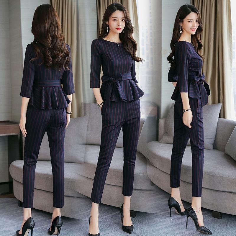 e in autunno 2019 moda temperamento signora della moda coreana delle donne nuove versatile della molla delle donne sottili due primavera e autunno vestito nuovo Suitpi
