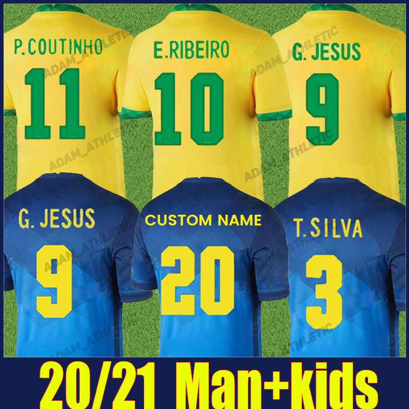 Brasil Soccer Jersey National Team Heights 2021 2022 Casemiro Richarlison E.Ribeiro Football Shirts Man Kids Kit Marquinhos p.coutinho g.jesus camisa de brasileiro