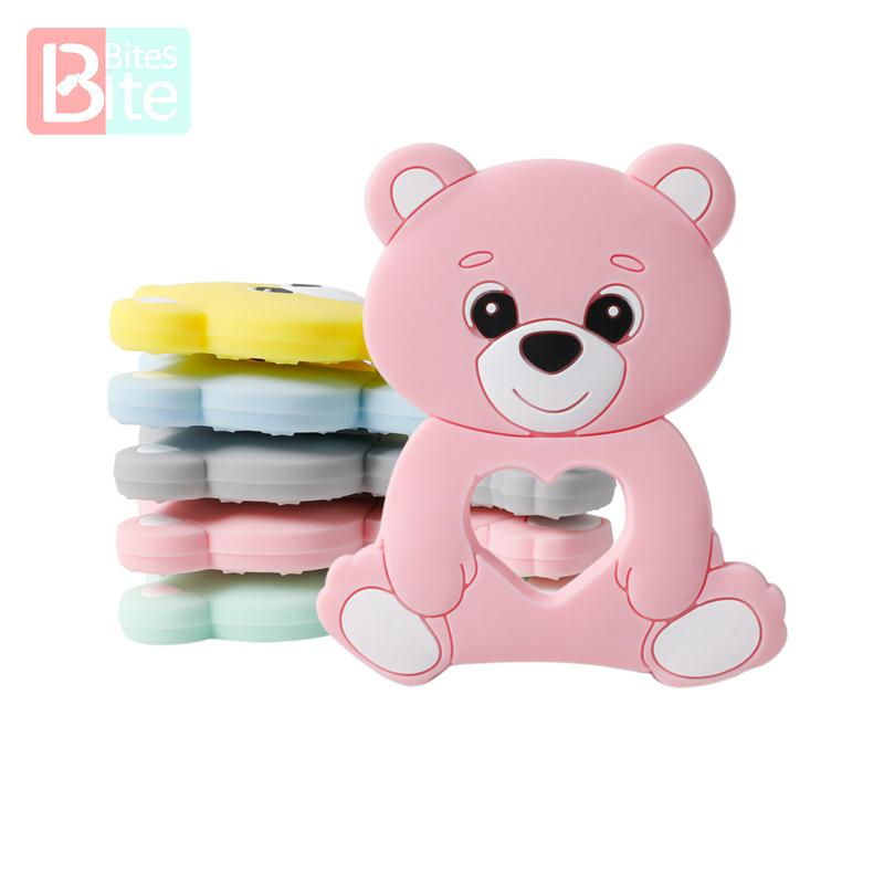 10PCS/5PCS Silicone Bear Cartoon Bead Stroller Baby Teether Silicone Baby Teether Necklace Bpa Free Food Grade Baby Teether 201123
