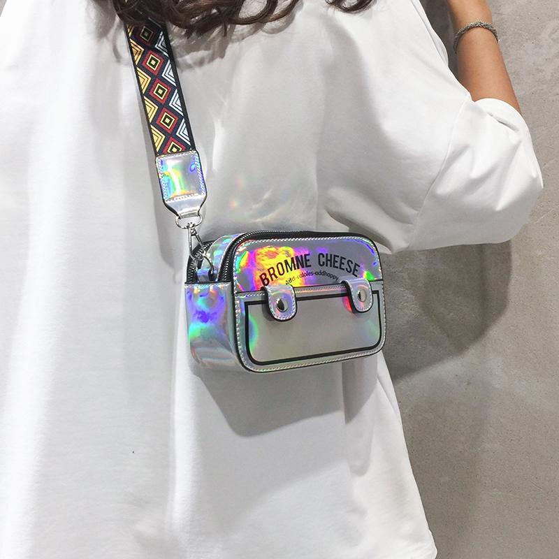 Случайные дизайнерские квадратные женщины плечо женские кошельки мешок ремень лазерный посылку широкий 2020 буквы маленькие C1016 пакеты смешные Crossbody rfadf