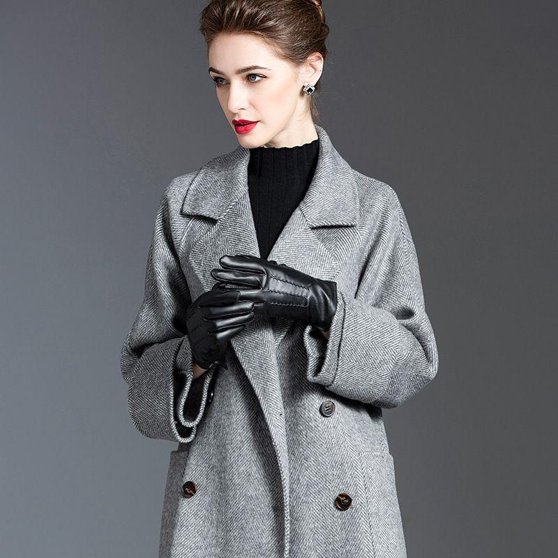 Trench 2020 Outono Inverno Mulheres Grosso solto Overcoat de lã Dupla Face Cashmere Comprimento Médio Lã 1Y9PK Brasão