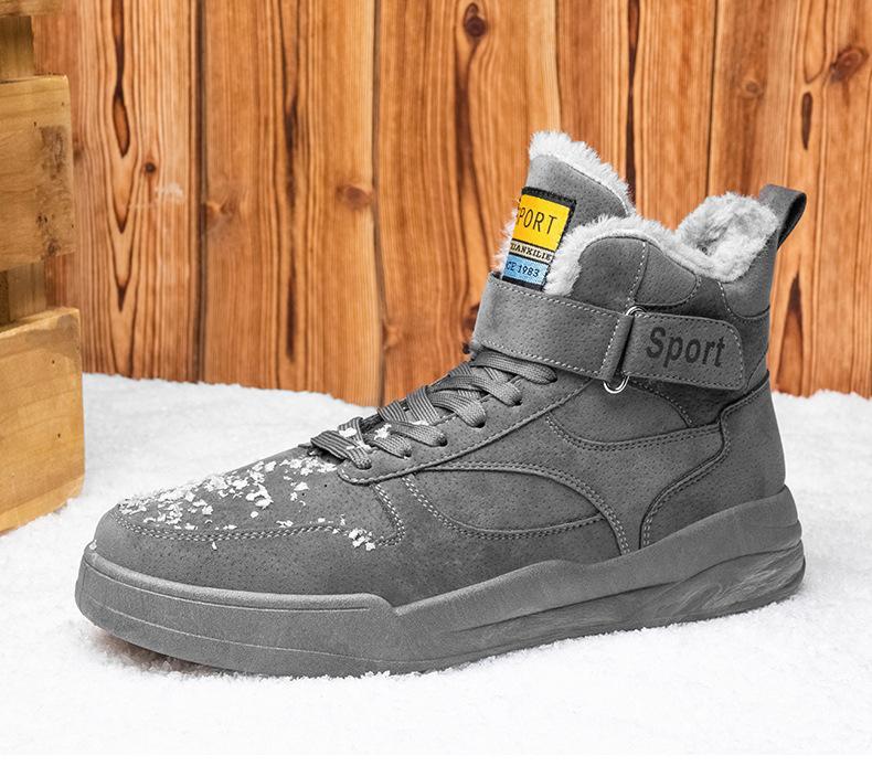 2021 Warm in Winter Männer Knöchelstiefel Stricken Wolle Flache Bottom Martin Boots Mode Casual Schuhe Baumwollgepolsterte Schuhe Hinzufügen von Baumwolle B14
