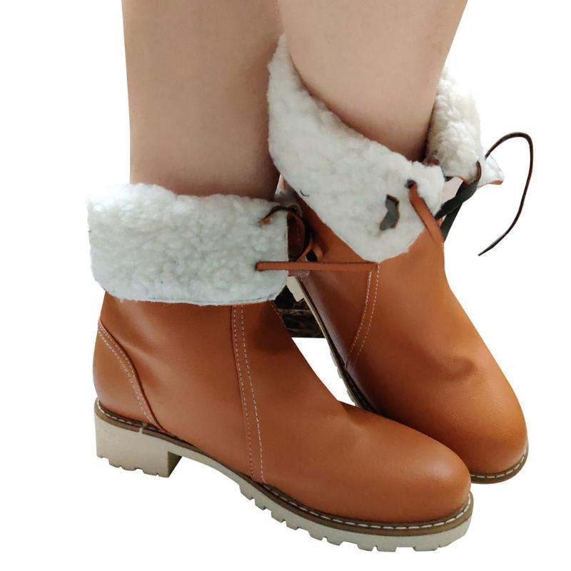Lace-up delle donne dell'annata di moda inverno stivali Pure le dita dei colori rotonda Chunky Tacchi brevi caricamenti del sistema casuali caldi scarpe Botas Feminina