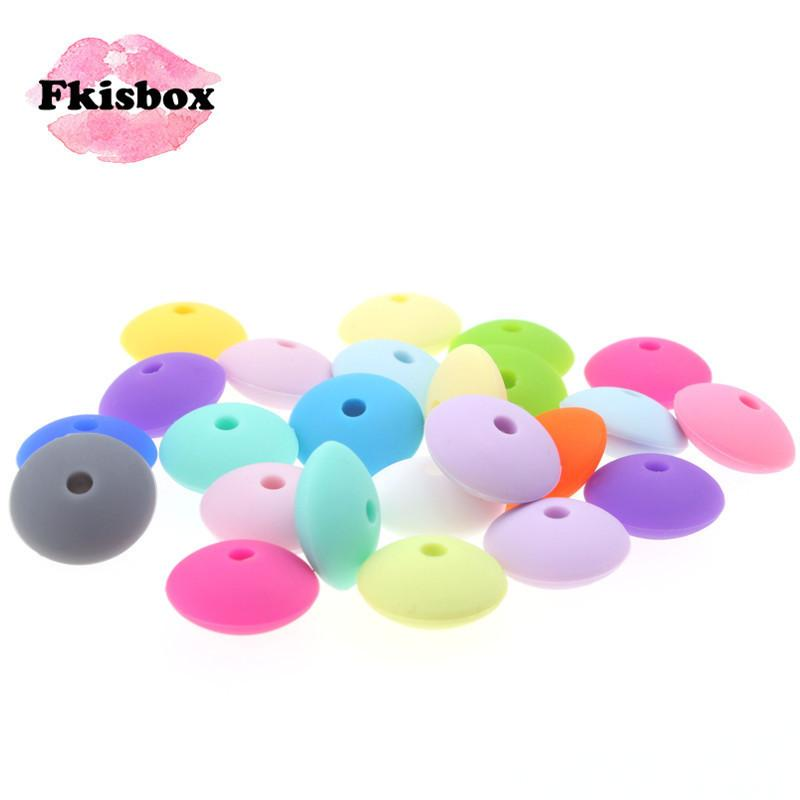 12mm*6mm 200PC Flat Lentils Beads Silicone Baby Teether Abacus Spacing Bead BPA Free Infant Teething Necklace Pacifier Chain DIY 201123