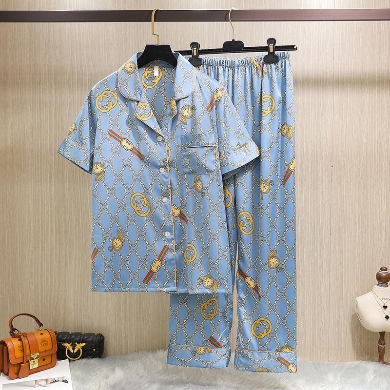 Phxn sexy faux manga curta amantes pijamas purflower impresso sleepwear masculino casal casal seda pijama pants conjuntos para homens mulheres 2 pflw