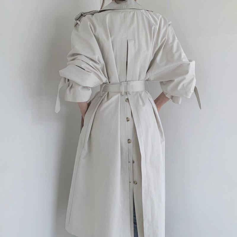 [EWQ] Nuevo estilo británico otoño largo sobre la rodilla Cuello de manga larga de la manga larga Cuello de giro Double Breasted Abrigo Minimalismo LJ201128