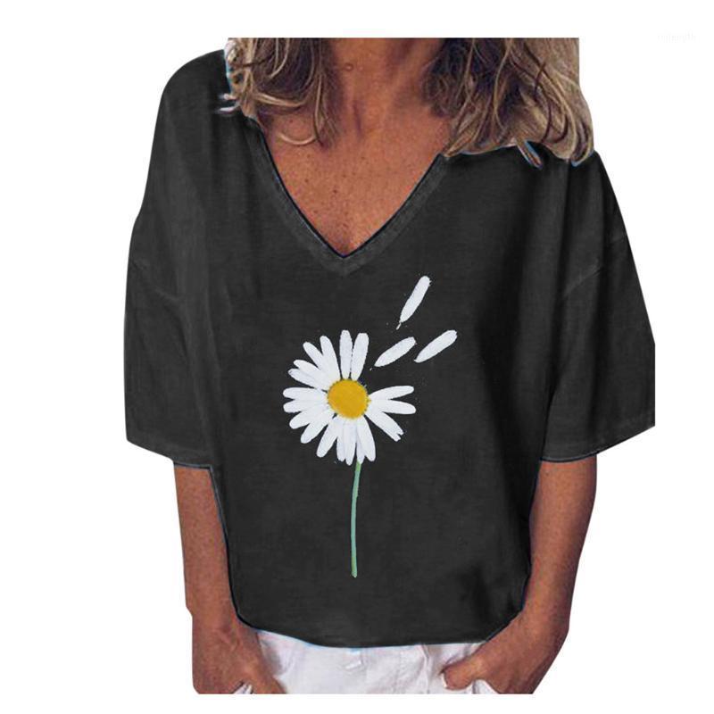 Blusas mujer de moda 2020 vintage marguerite imprimé shorts chemisier chemisier chemisiers décontractés vrac v lâche col chemises dames quotidien vacances Tops1