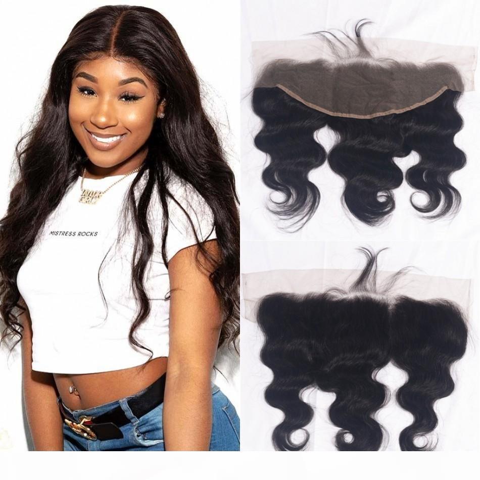 Virginal peruana del pelo onda del cuerpo Pre desplumados Cierre frontal del cordón 13x4 color natural del pelo humano del Top Cierres
