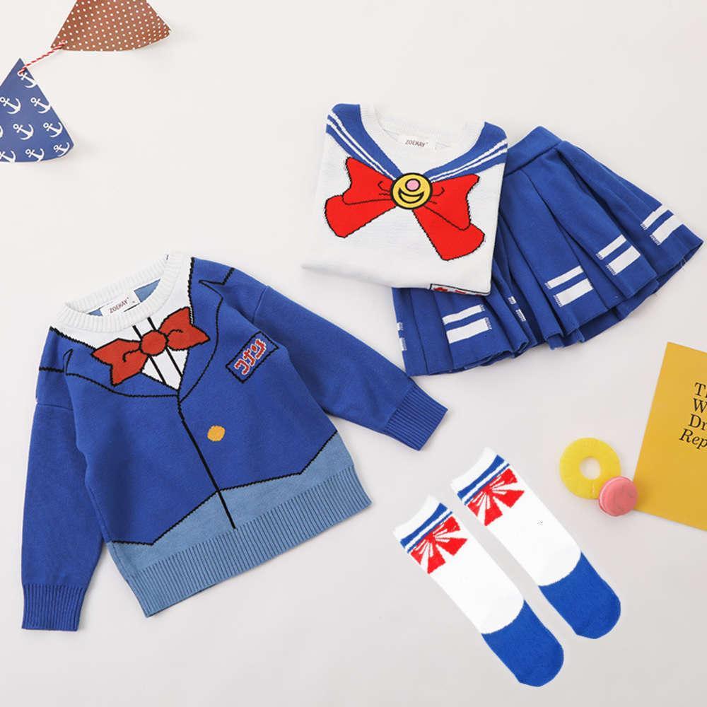 Ragazzo dei bambini Conan Pret Zoekay Girl Soldier Baby Maglia maglia maglione pieghettato Gonna