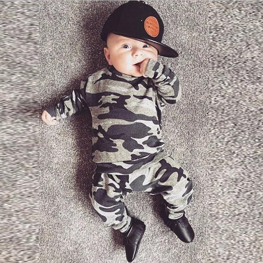 Herbst Neugeborene Kleidung Baby Jungen Mädchen Kleidung Set Kleinkind Infant Camouflage Langarm T-Shirt Tops + Hosen 2 stücke Casual Outfits 201117