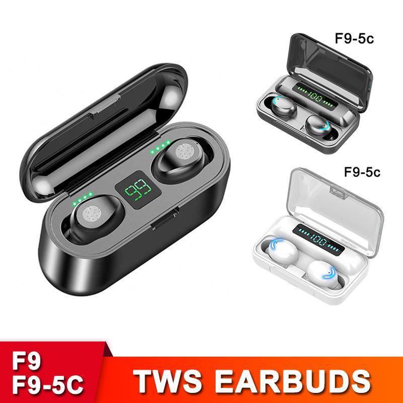F9 TWS Słuchawki Bezprzewodowy Bluetooth V5.0 Słuchawki o dużej pojemności HIFI Stereo LED Wyświetlacz LED Earbuds 2000MAH POWER BANK ŁADOWANIE