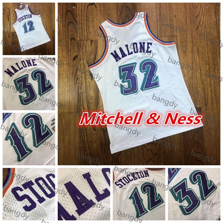 Mitchellness Basketball Vintage Hommes John Stockton 12 Karl Malone Jersey 32 Dense Au Tissu Tissu Mesh Broderie Broderie Logo Stithed Stock Shirt Blanc